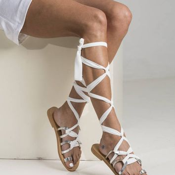 Greek gladiator sandals, Silver lace up leather sandals with extra long straps crafted