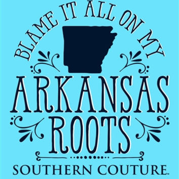 Southern Couture Blame it on my Arkansas Roots State Pattern Girlie Bright T Shirt