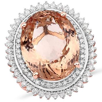 14K Rose Gold 14.73CT Oval Cut Salmon Pink Morganite Diamond Halo Ring