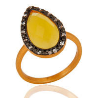 14k Gold Vermeil Yellow Moonstone 925 Sterling Silver Gemstone Ring With Pave CZ