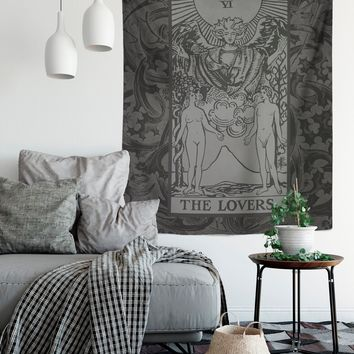 The Lovers Tarot Card Tapestry - Rider Waite The Lovers Tapestry - Black & Grey
