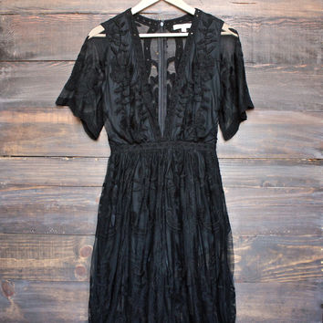 as you wish embroidered lace maxi dress (women) - black