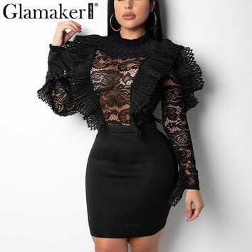 Glamaker Black mesh ruffle transparent lace bodysuit Women sexy long sleeve bodysuit Female winter embroidery hollow jumpsuit