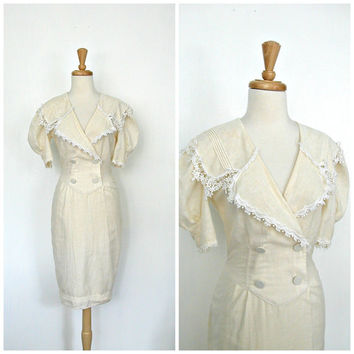 Vintage Linen Dress / 70s dress / Jessica Mcclintock / ivory wedding dress / bridesmaid / spring fashion / ladies who lunch / S