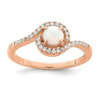 Sterling Silver Rose Gold Plated White Round Created Opal & CZ Halo Ring