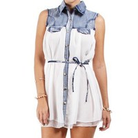 White Denim Woven Sleeveless Tunic Top