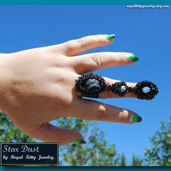 Star Dust, handmade armor ring, bead embroidery, armor ring jewelry, black armor ring, agate armor ring