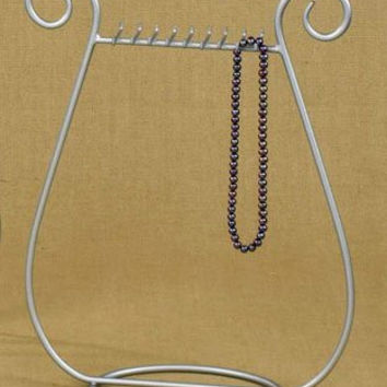 Silver satin nickel finish JEWELRY harp NECKLACE RACK stand HOLDER