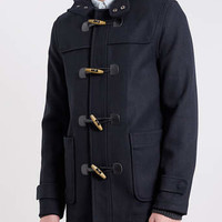 NAVY WOOL BLEND DUFFLE COAT