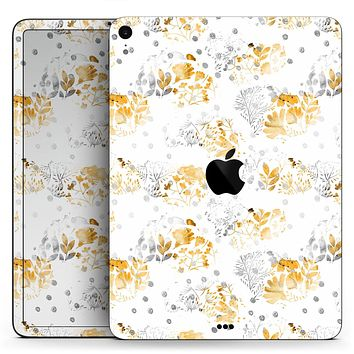"Karamfila Yellow & Gray Floral V5 - Full Body Skin Decal for the Apple iPad Pro 12.9"", 11"", 10.5"", 9.7"", Air or Mini (All Models Available)"