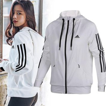 ADIDAS Fashion Sport Stripe Cardigan Jacket Coat Sweatshirt