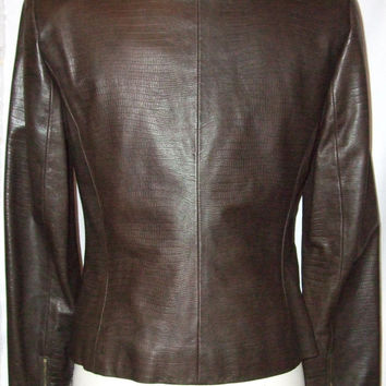 Vtg. Dana Buchman Brown Leather Beaver Collar Jacket, Sz 4