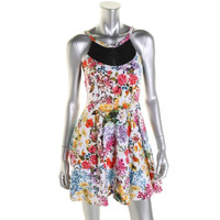 Material Girl Womens Juniors Cotton Jersey Floral Print Casual Dress