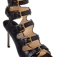 Jimmy Choo Trick 85 Shiny Leather Buckled Sandal, 38.5, Black