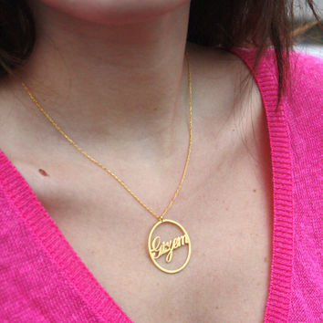 Thin Gold Circle Name Necklace ~ Personalized Necklace ~ 14K Gold Filled Name Necklace