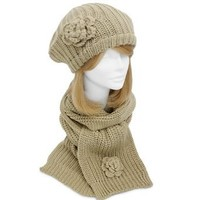 Amazon.com: Beige Feminine Rosette Ribbed Knit Beret Hat & Scarf Set: Clothing