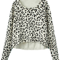 ROMWE | ROMWE Asymmetric Leopard Knitted Long Sleeves Slim Jumper, The Latest Street Fashion