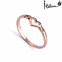 New Sale Real Italina  Rings for Women  Genuine Austria Crystal  18K gold Plated   Fashion #RA10314Rose
