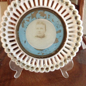 Vintage Collectible Antique White With Photograph In Center Of Plate Serving Dish