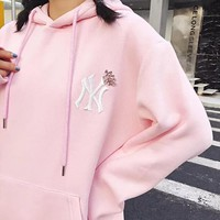 NY Newest Fashion Women Embroidery Long Sleeve Hoodie Velvet Sweater Pullover Top Sweatshirt Pink