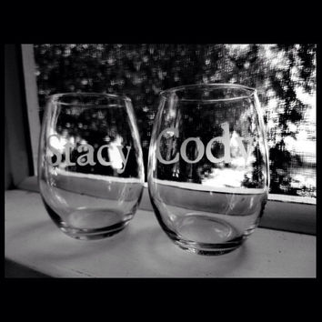 Hand made personalized etched stemless wine glasses