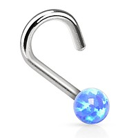 BodyJ4You Nose Ring Screw Stud Blue Opal Stone Surgical Steel 20G Body Piercing Jewelry