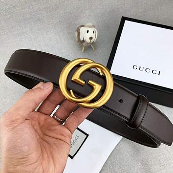 GUCCI Fashion New Letter Buckle Leather Leisure Belt Width 3.8CM Coffee