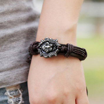 Modish Men Jewelry Braided Dragon Head Wrap Wrist PU Leather Cuff Bracelet 3CAU