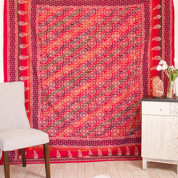 Indian Handblocked Dabu Tapestry