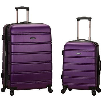 "F225-PURPLE 20"", 28"" 2Pc Expandable Spinner Luggage Set"