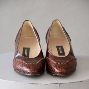 Vintage Bally Brown Leather Pumps