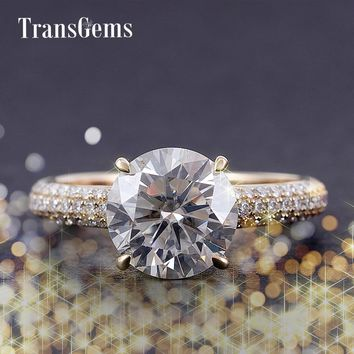 Transgems Center 4ct Moissanite Diamond Engagement Ring Gold for Women 14K 585 Yellow Gold 10MM Diameter F Color Moissanite