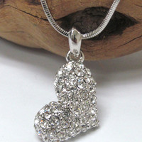 White Gold Plating Crystal Sideways Heart Pendant Necklace