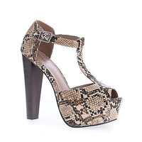 Brina41 By Breckelle's, Peep Toe T-Strap Chunky Stacked Heel Platform Pumps