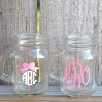 Glass Mini Mason Jar with Monogram ~ Shooters ~ Shot Glass ~ Custom Design