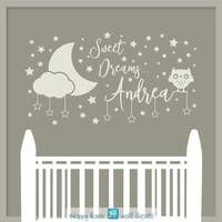 Sweet Dreams Wall Decal, Sweet Dreams Wall Art, Moon and stars Wall Decal, Personalized name decal, Nursery wall Decal