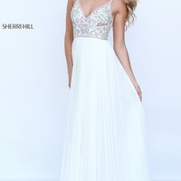 Ivory Long Pleated V-Neck Sherri Hill Prom Dress