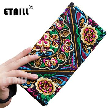 Vintage Flower Ethnic Boho Ladies Hand Embroidered Clutch Wallets Purse Designer Famous Brand Logo Clutch Women Sac a Dos Femme