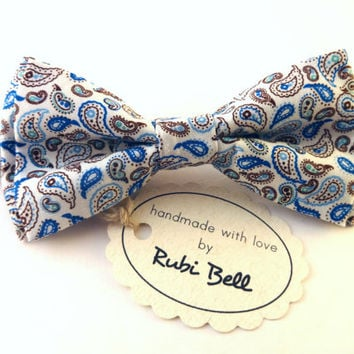 White bow tie - white bow tie with blue and brown paisley pattern - wedding bow tie -man bow tie -men bow tie - gifts for him -groom bow tie