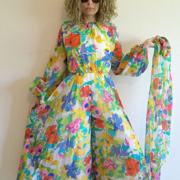 Vintage Custom Made Sheer Bright Floral Palazzo Pant Jumpsuit