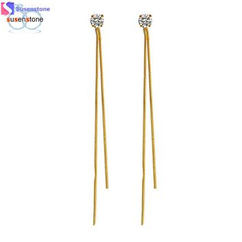 Gold and silver thread earrings