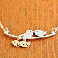 Love Birds Necklace - sterling silver, twins necklace, baby bird necklace, baby shower jewelry, mom necklace