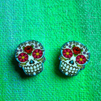 Dia de los Muertos Floral Sugar Skull Post Earrings