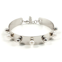 Dot And Dash Neck Cuff W/ Pearls and Spheres - Rhodium / Cream