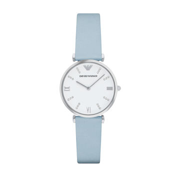 ARMANI WATCH SOFT PASTELS WOMEN RETRO LEATHER GIANNI T-BAR STAINLESS STEEL AR1928