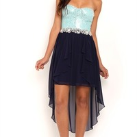 High Low Prom Dress with Sequin Lace Corset Bodice