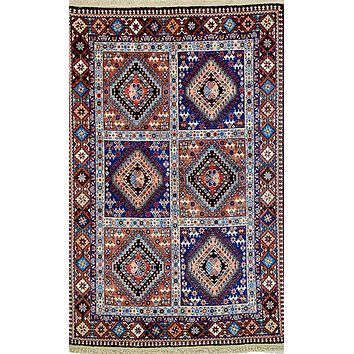 Oriental Yalamah Wool Persian Tribal Rug, Blue/Pink