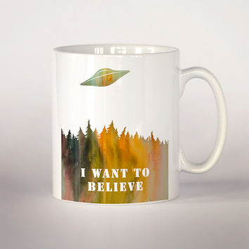 I want to believe mug,  The X files coffee mug 11 oz. Mug art, Ufo mug , Movie mug, ufo illustration, The x-files cup