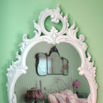 Tall White Vintage Wall Mirror French Country Farmhouse Shabby Chic