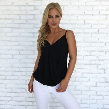 Mia Wrap Blouse in Black